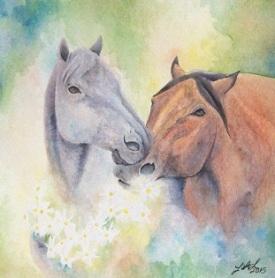 Daisy Chain Original watercolor by Laurel Anne Equine Art