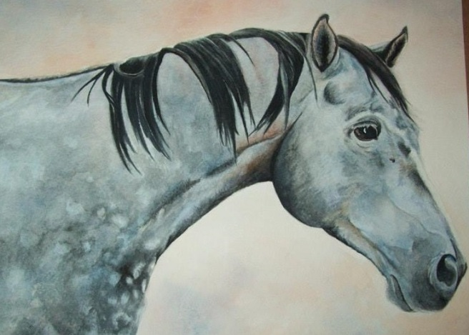 "Portrait of ""Rain"" by Laurel Anne Equine Art"