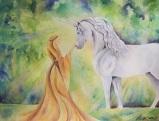 Maiden and Unicorn 11x14 watercolor