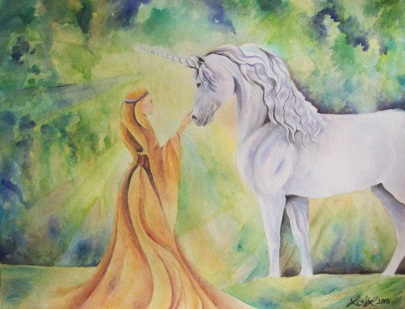 Maiden and Unicorn 11x14 watercolor
