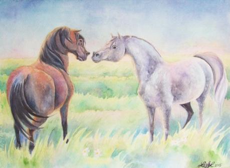 """Greeting"" 11""x14"" watercolor by Laurel Anne Equine Art"