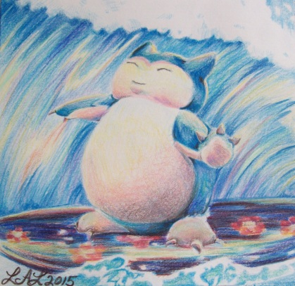 """""""Snorlax Used Surf!"""" by Laurel Anne Equine Art"""