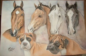 portrait of horses and dogs