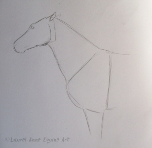 Preliminary sketch of a horse