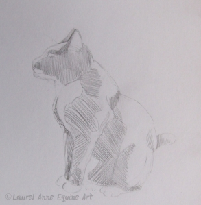 Cat sketch with rough shading