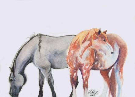 """Sabino and Grulla"" by Laurel Anne Equine Art"