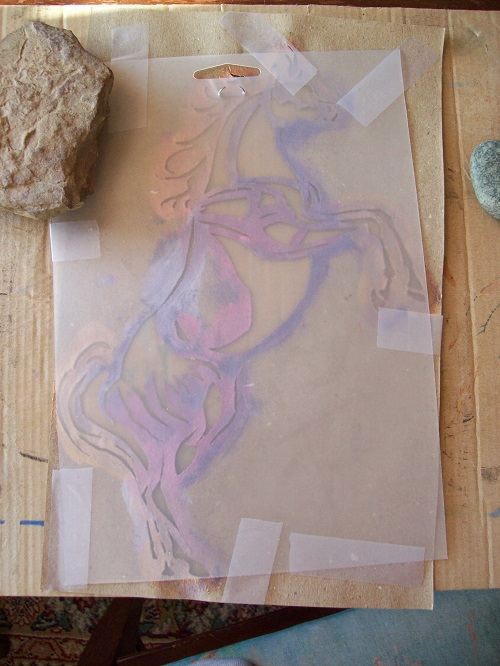 Ready to Trace Rearing Arabian Horse Stencil by Laurel Anne Equine Art