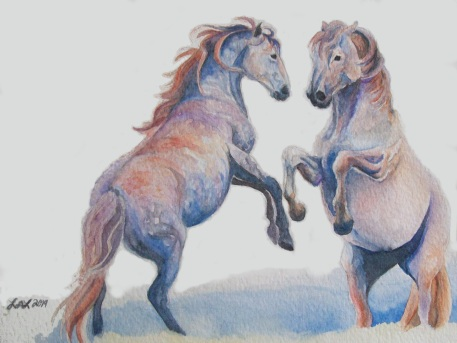 """Fighting Stallions"" by Laurel Anne Equine Art"