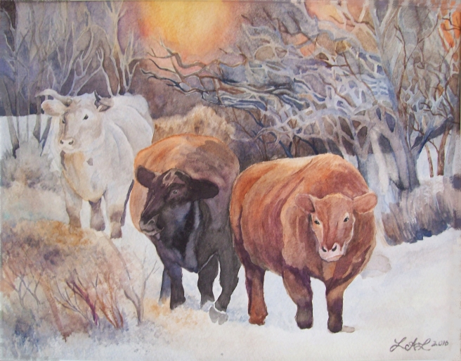 Three Cows original watercolor painting by Laurel Anne Equine Art