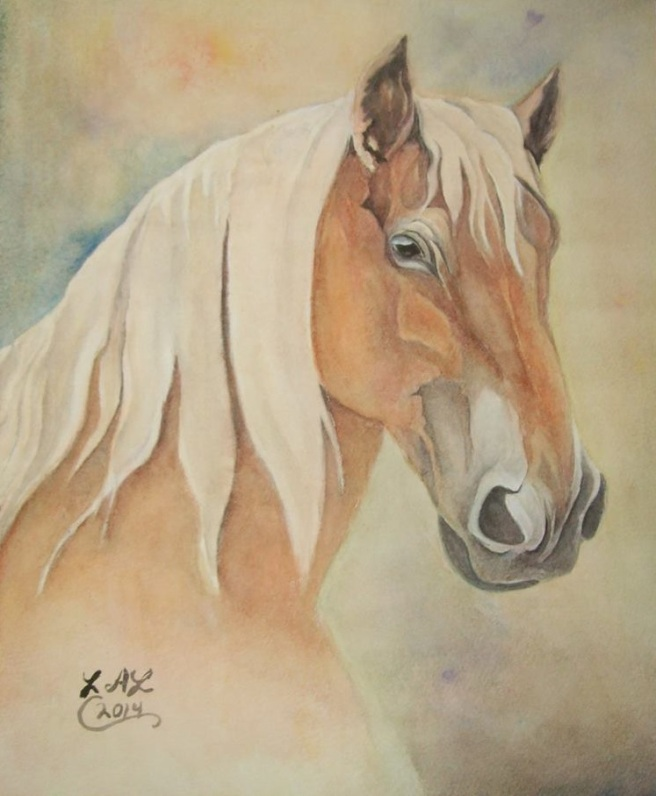 Belgian Draught Mare original watercolor by Laurel Anne Equine Art