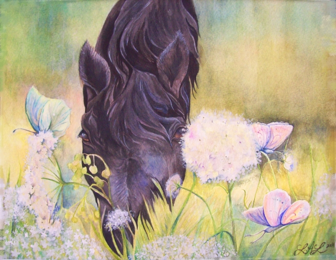 Peek A Boo, original watercolor painting by Laurel Anne Equine Art