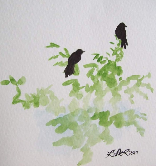 Two Crows In Tree original watercolor painting by Laurel Anne Equine Art