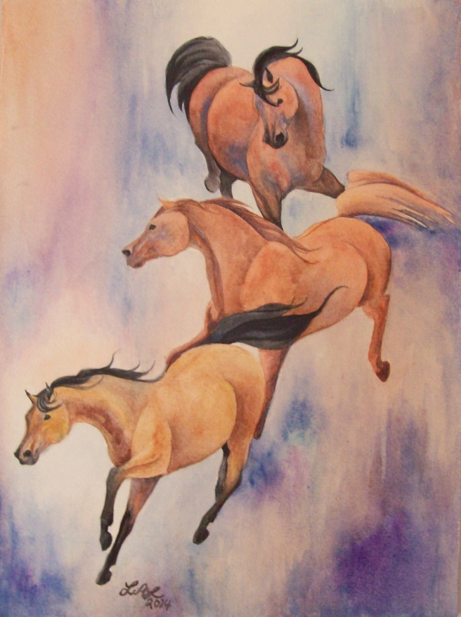 Cascade Of Mares Original Watercolor Painting by Laurel Anne Equine Art